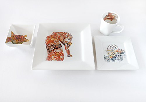 Kim Rody Creations Dinnerware Sets  Seahorse Collection, 4pc