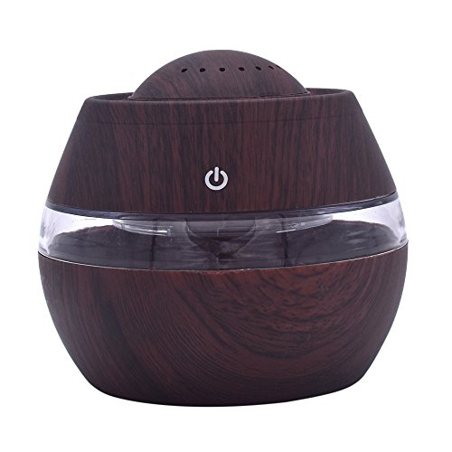 Gotian Air Purifier 300ml Air Aroma Essential Oil Diffuser LED Ultrasonic Aroma Aromatherapy Humidifier, Steam Maker Diffuser for Home Office Car Outdoor (Brown)