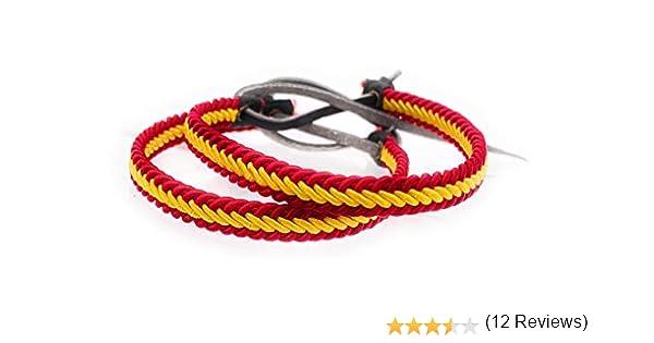 MovilCom® Pack de 2 Pulseras Pulsera de Cuero e Hilo Trenzada Colores Bandera ESPAÑA 2 Unidades: Amazon.es: Joyería