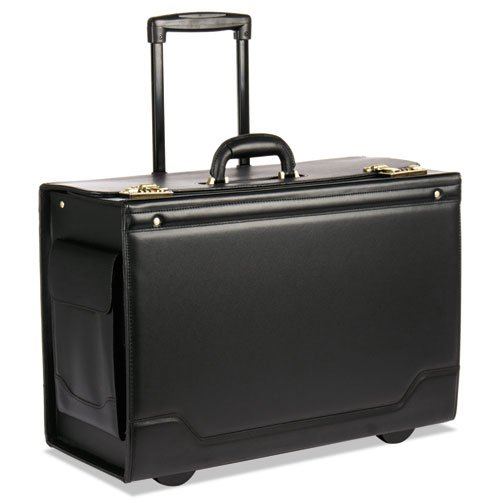 (Wheeled Catalog Case, Leather-Trimmed Tufide, 21-3/4 x 15-1/2 x 9-3/4, Black, Sold as 1 Each)