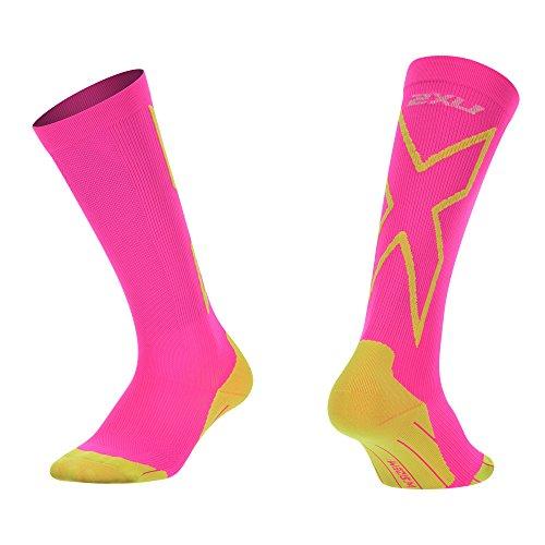 2XU Women's Compression performance X Socks, Pink/Fluoro Green, Small