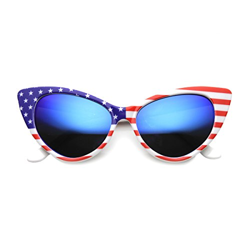 American Flag Patriotic Stars and Stripes Flash Mirrored Super Cat Eye Sunglasses (White / Ice - Cat With Flag American