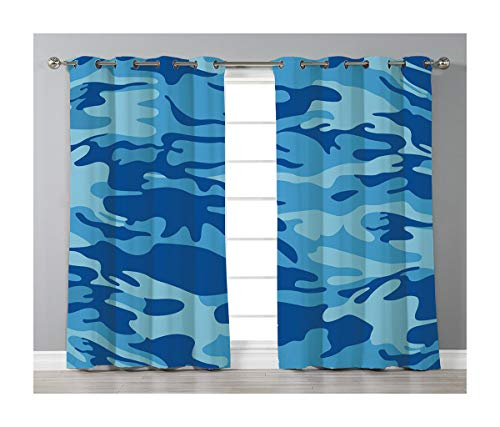 Goods247 Blackout Curtains,Grommets Panels Printed Curtains for Living Room (Set of 2 Panels,42 by 63 Inch Length),Camouflage -
