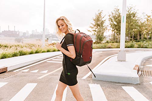 Solo New York Solo Varsity Region Backpack for Women and Men. Fits 15.6-inch Laptop and Notebook Perfect for Business, Travel, School and College – Burgundy