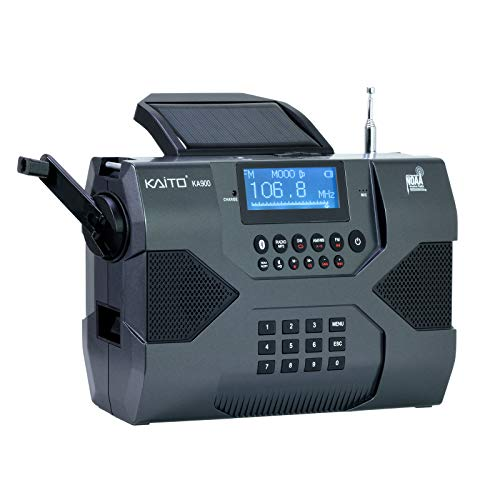 Kaito Emergency Radio Voyager Max KA900 Digital Solar Dynamo Crank Wind Up AM/FM/SW & NOAA Weather Stereo Radio Receiver Bluetooth