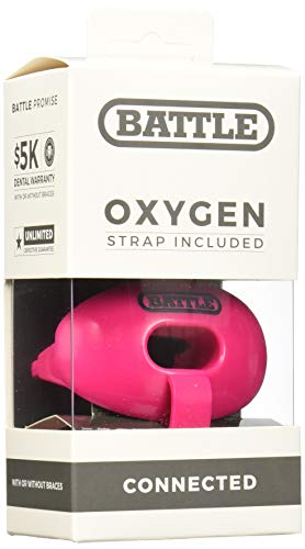 Battle Oxygen Lip Protector Mouthguard with Connected Strap - Football and Sports Mouth Guard - Maximum Oxygen Supply - Mouthpiece Fits With or Without Braces - Impact Shield Covers Lips and Teeth