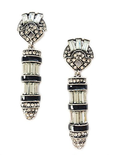 Art Deco Antique Vintage Flapper Jet Black Onyx Rhinestone Wedding Bridal Prom Long Dangle Earrings