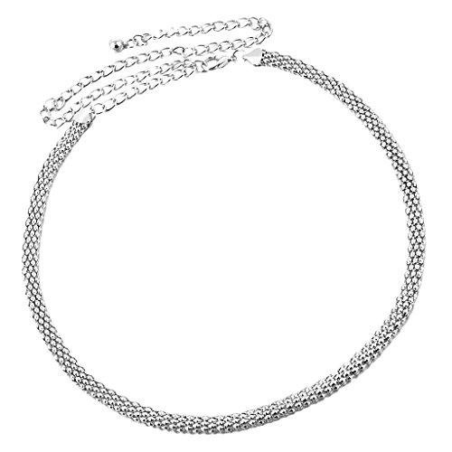 MagiDeal Cinturón de Cadena para Mujer Cintura con Rhinestones de Chicas Decor de Vestido Plata