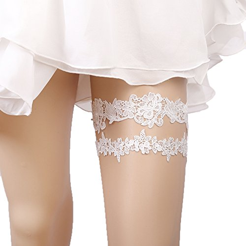 Lace Garter Set Wedding Garter Belt Flower Floral Design Garter for Bride Ivory]()