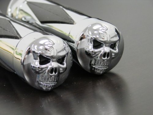 TMS Chrome Skull Hand Grips for Select Motorcycles