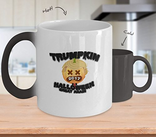 Color Changing Mug Pumpkin Trumpkin 2017 Make Halloween Great Again Heat Colour Change Mug -