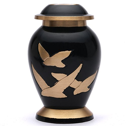 Small Going Home Black Keepsake Cremation Urn, Brass Funeral Urn for Ashes