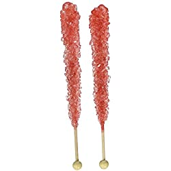 Red Rock Candy on a Stick - Pack of 24 (Strawberry Flavored) - How to Build a Candy Buffet Table Guide Included