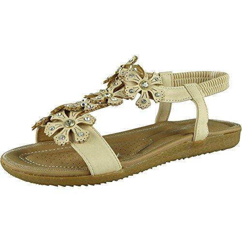 Flat Shoes Peeptoe Elastic Ladies Strap Loud Comfy Sizes Summer Look Beige Sandals 8 Womens Bling 3 wqYTAxBR
