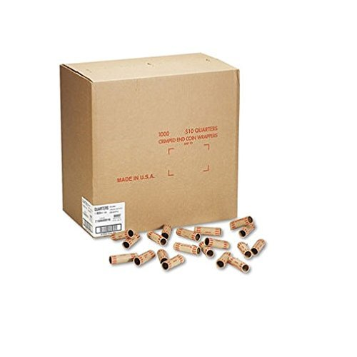MMF IndustriesTM Preformed Tubular Coin Wrappers, Quarters, $10, 1,000 Wrappers per Box by MMF Industries by MMF Industries
