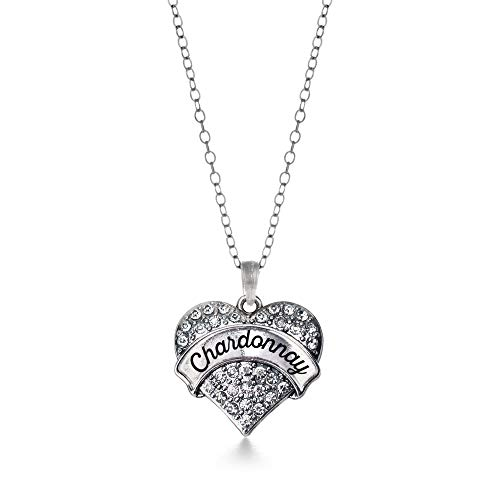 Chardonnay Silver - Inspired Silver - Chardonnay Charm Necklace for Women - Silver Pave Heart Charm 18 Inch Necklace with Cubic Zirconia Jewelry
