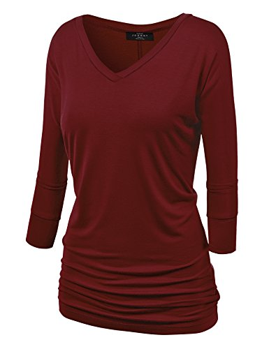 Mbj Wt1036 Womens V Neck 3 4 Sleeve Dolman Top With Side Shirring Xl Wine