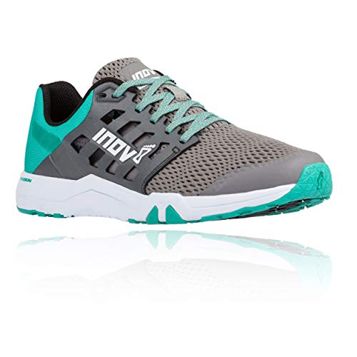 Inov-8 Womens All Train 215 | Lightweight Cross Training Athletic Shoe | for Versatile Training | Great Support When Weight Lifting and Power Lifting |Grey/Teal M5.5/ W7