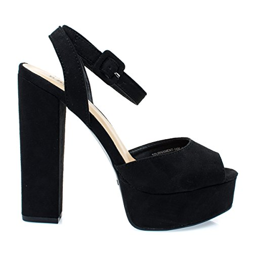 Bamboo Tournament04m Black Womens Chunky Block Heel Platform Dress Sandal W Peep Toe  8
