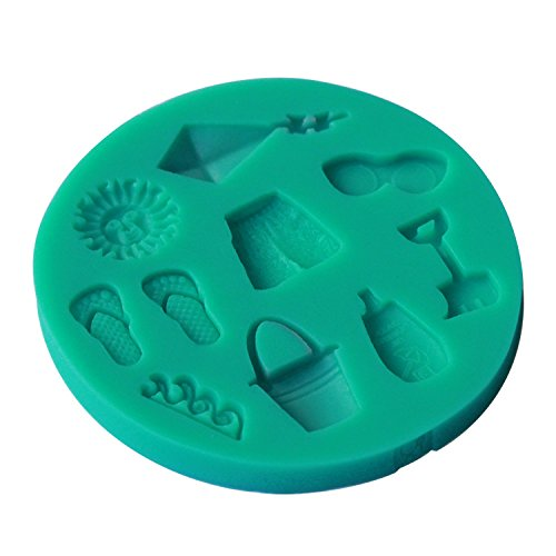 Star-Trade-Inc - Molde de silicona 3D para verano, playa, ociación, sol, kite, mar, ondas, zapatillas cortas, fondant, decoración de cocina, bricolaje, ...