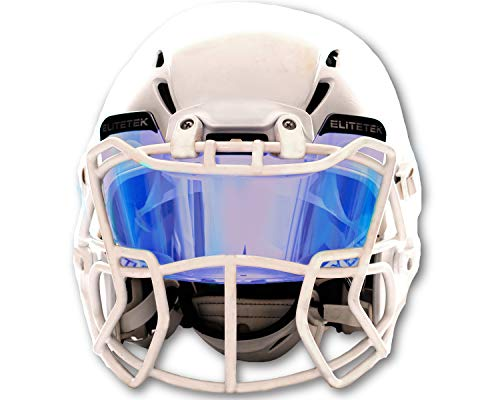 (EliteTek Color Football & Lacrosse Eye-Shield Facemask Visor - Universal Fits Youth & Adult Helmets (Clear Blue Sapphire)