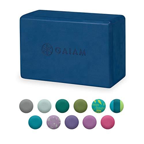 Gaiam Yoga Block - Supportive Latex-Free EVA Foam Soft Non-Slip Surface for Yoga, Pilates, Meditation (Indigo Ink)
