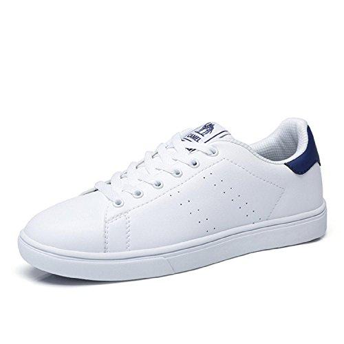 Lederen Skate Schoenen Voor Heren, Wit / Blauw