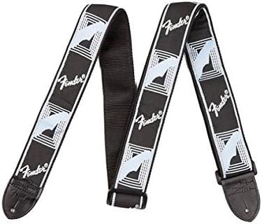 """Fender 2/"""" Monogrammed Guitar Strap with Fender Logo Black//Grey"""