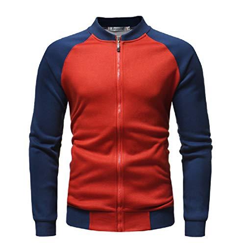 XINHEO Mens Stand Collar Contrast Zips Raglan Fleece Sweatshirt Jacket Red