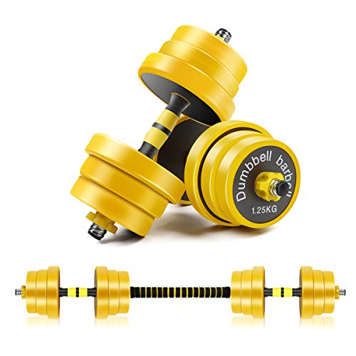 CDCASA Adjustable Dumbbells, Free Weight Set, Dumbbell Barbell 2 in 1, Solid and Configurable with Rubbery Protective…