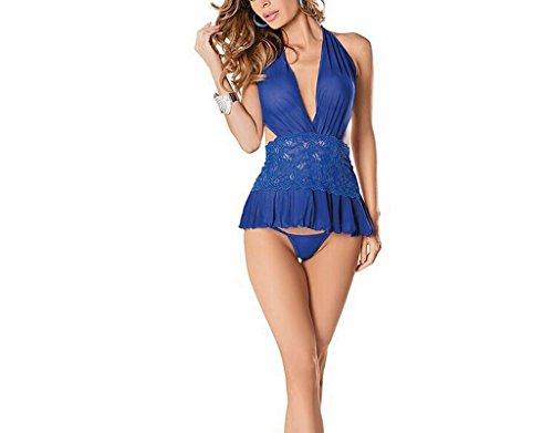 DSC Europäische Art-reizvolle Unterwäsche-Halter-bloße hintere hängende Ansatz-Bikini-Wäsche / blau