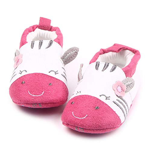 BiBeGoi Infant Baby Boys Girls Soft Sole Slippers Anti-Slip Cute Moccasins Summer Sneakers First Walker Shoes Baptism Easter Day Gift (12-18 Months M US Infant, B-red&Zebra)
