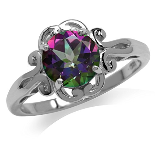 Silvershake 2.16ct. Mystic Fire Topaz 925 Sterling Silver Filigree Victorian Style Ring
