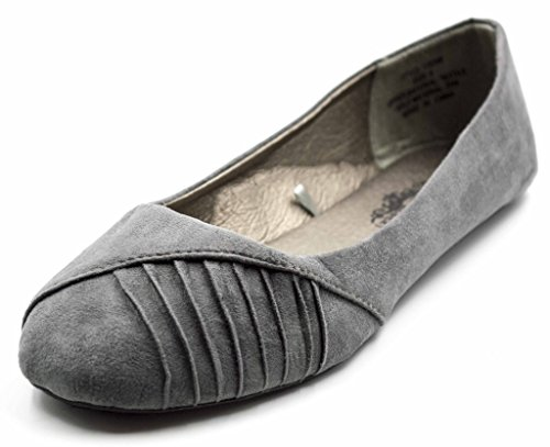 Charles Albert Womens Side Piega Slip On Ballet Flats Grigio