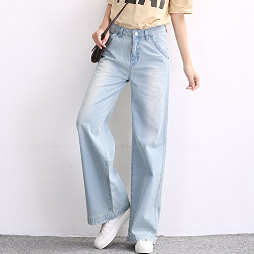 Tookang Allungamento Senza Azzurro Larga Jeans Gamba Flared Casuale Lunghi Pantaloni Grossa Pantalone Bootcut Taglia Donna Denim Magro qYrXYnagwx