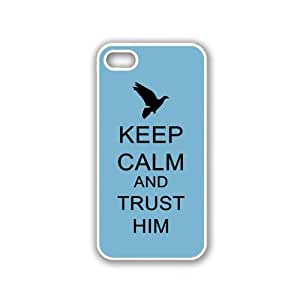 Keep Calm And Trust Him - Aqua - Protective Designer WHITE Case - Fits Apple iPhone 5 / 5S