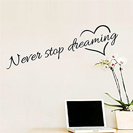Adesivi Murali Per Camera Da Letto.Adesivi Murali Frase Never Stop Dreaming Stickers Neri Frasi