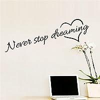 """Adesivi Murali Frase""""Never Stop Dreaming"""" Stickers Neri Frasi Scritte Muri in Camera da letto Dormitorio e Soggiorno Decorazione Parete"""