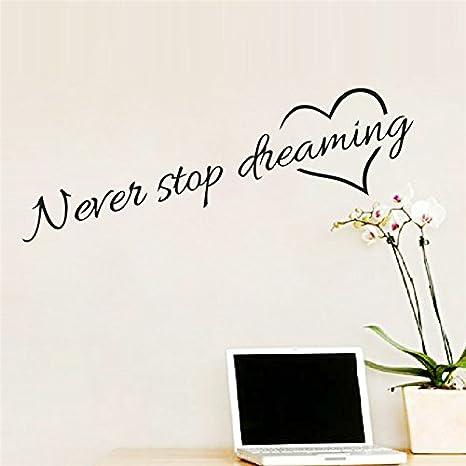 Adesivi Murali Frase Never Stop Dreaming Stickers Neri Frasi