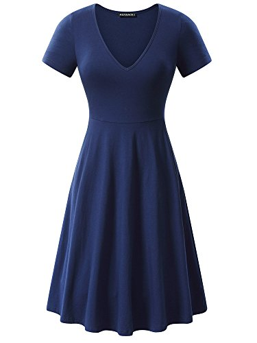 FENSACE V Neck Pockets Simple Country Dresses for Women Navy]()