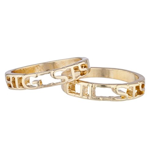 Lux Accessories Gold Tone Big Sis Lil Sis Sisters BFF Best Friends Ring Set 2PC