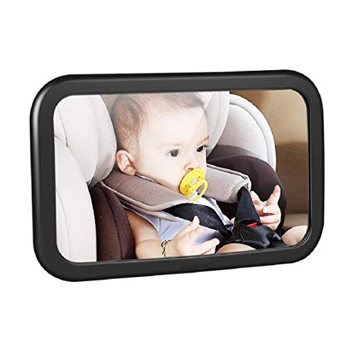 Price comparison product image Vacally Baby Car Mirror for Back Seat - Black Frame - Safest Shatterproof Baby Mirror for Car - Rear View Baby Car Seat Mirror Safely View Infant In Rear Facing Car Seat
