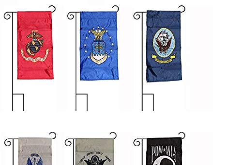- AES 12x18 Embroidered 5 Branch Military POW MIA Sleeved Garden Stands 12