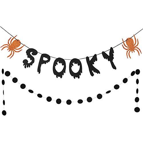 Black Glittery Spooky Garland and Black Glittery Circle Dots Garland(25pcs Circle Dots) Halloween Party Decoration Supplies