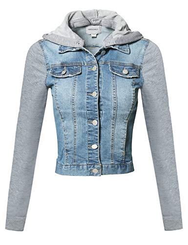 Awesome21 Casual Button Down Stretch Denim Jacket with Detachable Hoodie Light Blue S