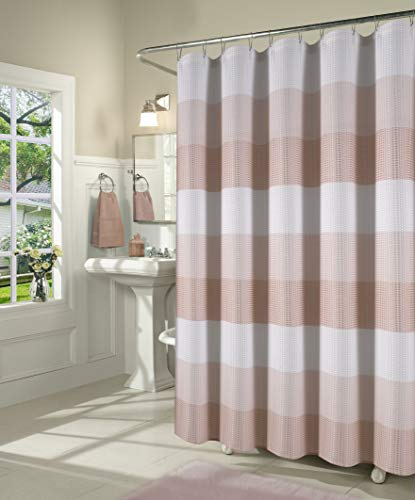 Dainty Home Waffle Weave Ombre Stripe Shower Curtain, 70X72, Textured - Oasis Curtain