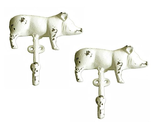 Cast Iron Shabby Chic Farmhouse Pig Wall Hooks (Set of Two) by VIP Home and Garden