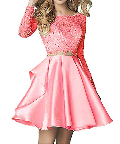 Sleeve Long Pieces 2018 Short Homecoming Ellenhouse Two Prom Coral Women's Dresses 7XIqBwa