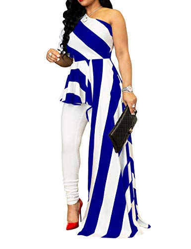 SEBOWEL Women's One Shoulder Striped Tunic Tops Peplum High Low Irregular Blouse Shirt Maxi Dress, Blue, XXX-Large