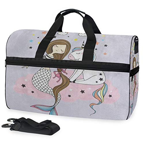 Cartoon Rainbow Cloud Mermaid Unicorn Star Sports Gym Bag with Shoes Compartment Travel Duffel Bag for Men Women ()